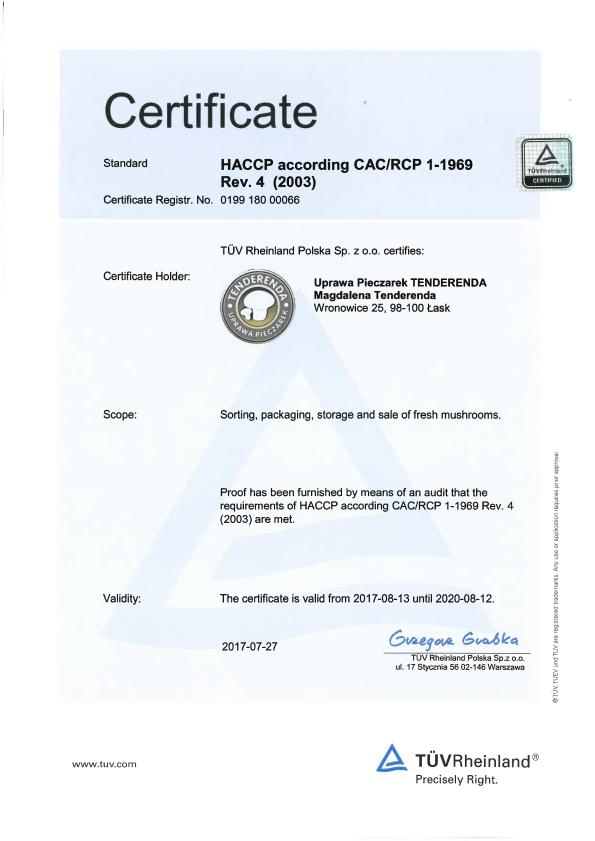 HACCP certyfikat