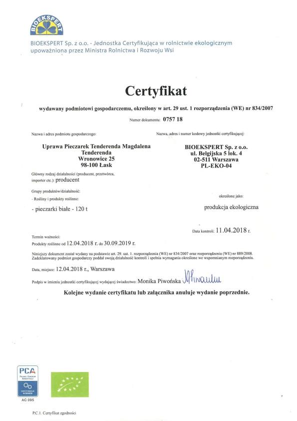 BIOEKSPERT certyfikat